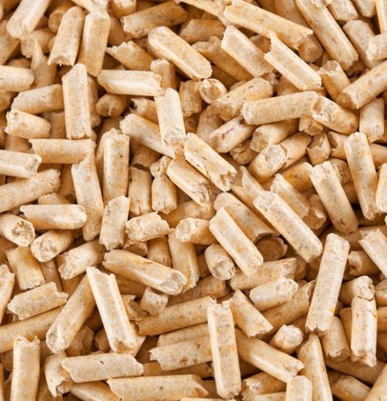 Wood pellets forming a background pattern